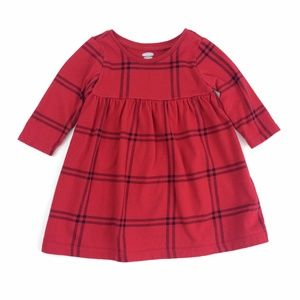 Old Navy Red Plaid Jersey Long Sleeve Knit Dress